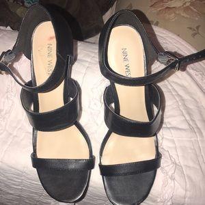 NWOT Nine West black strappy heels. Size 8.5